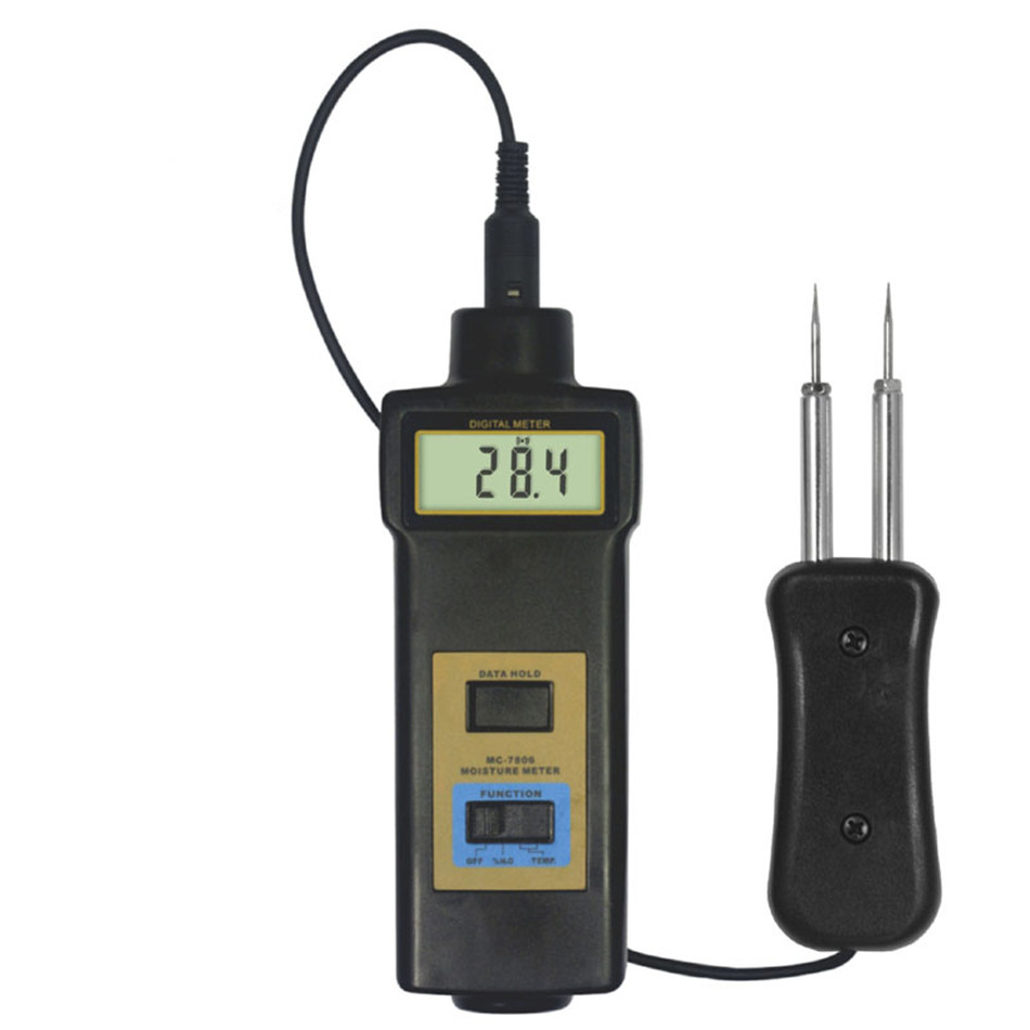 MC-7806 Moisture Meter Authentic Range 0~50% Gauge Use For Tobacco Cotton Paper Building Soil Self-calibration mc7806 wood moisture meter detector tester mc 7806 thermometer paper 50% wood to soil pin