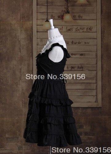 Noir Col Lolita Mignon Pas Cher Robe Sans Manches Montant Coton Sweet 7qgRpx