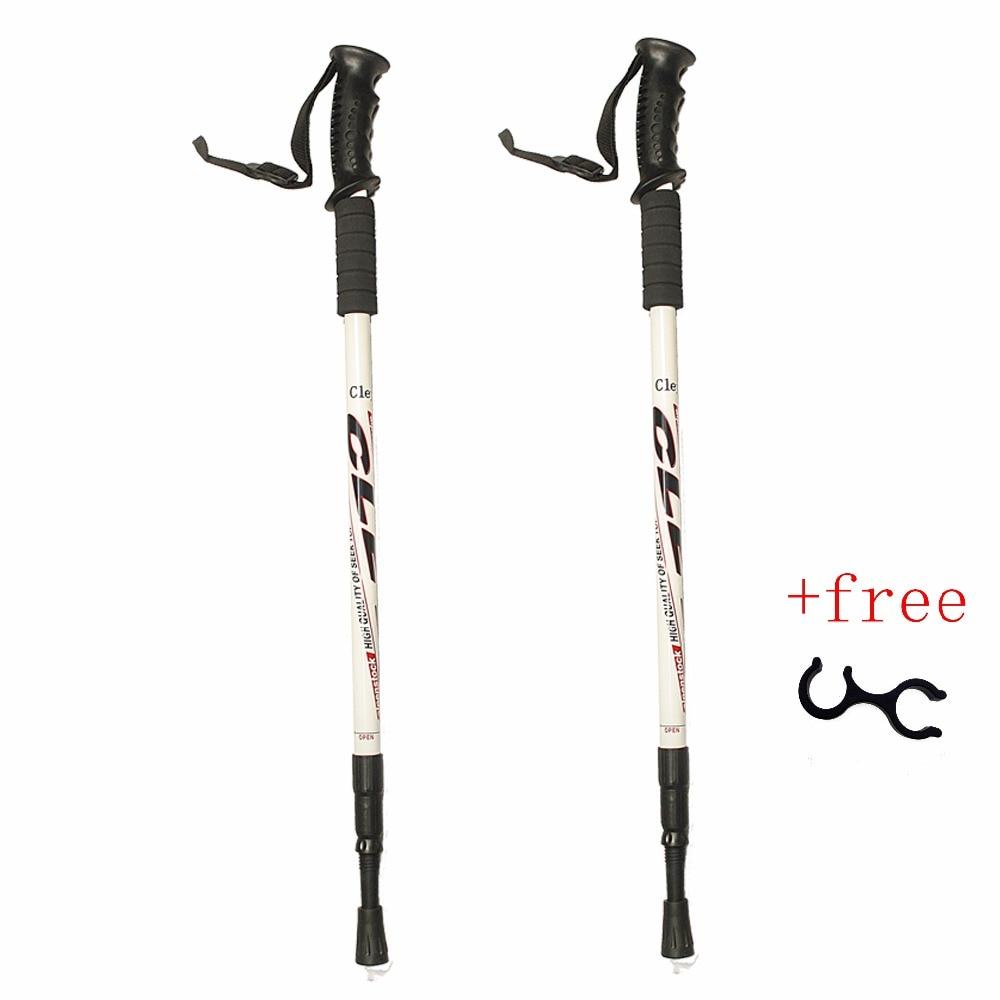 2Pc/Pair 135CM Walking Stick Trekking Aluminum alloy Climbing Stick Telescopic Running Trail Hiking Accessories
