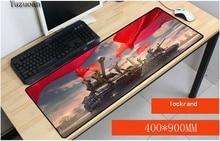 Yuzuoan World of tanks большой замок край pad резиновая игровая клавиатура для мыши Таблица коврики для CSGO DOTA LOL Gamer 900X400X3 мм