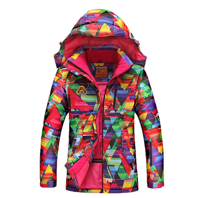 ФОТО Skiwear windproof waterproof outdoor climbing female coat warm jacket winter ski jackets thickened to increase color free door