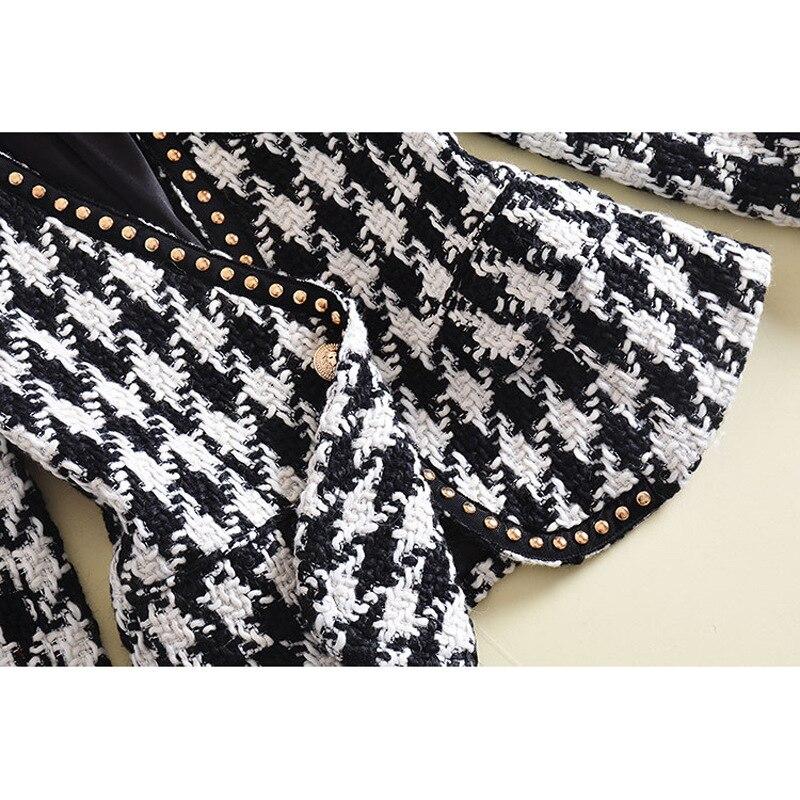 High Quality Tweed Blazer Woman Spring Autumn 2019 New Fashion Jacket Pocket Women Plaid Blazer Office Long Sleeve Ladies Blazer