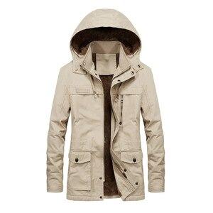 Image 5 - Artı kadife erkekler kış ceket 4XL 5XL Parka polar kürk kapşonlu askeri ceket ceket cepler rüzgarlık ceket erkekler