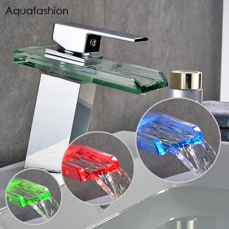 LED Light Glass Basin Faucet Single Lever Waterfall Sink Faucet Solid Brass Bathroom Waterfall Glass LED