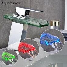 Светодиодный свет кран со стеклянной вставкой Однорычажный Водопроводный Кран «Водопад» твердая латунь Ванная комната стеклянный водопад кран со светодиодами