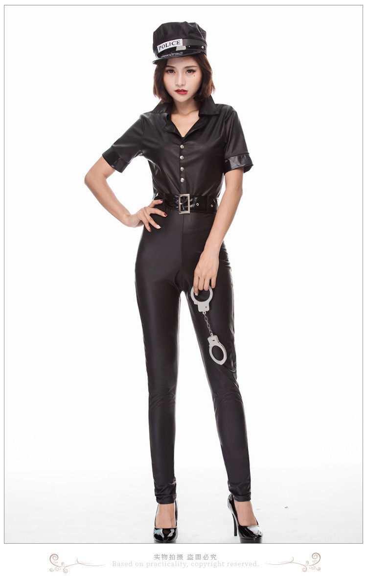 Sexy Black Leak Back Traffic Cop Costume Police Women Faux Leather Cosplay Jumpsuit
