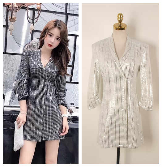 Women 2018 New Spring Fashion Runway Chic Women Bling Bling Sequined  Sparkle Sequined Long Blazer e6b461fa68a0