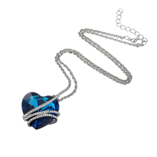 Silver Plated Crystal Romantic Blue Heart Pendant Necklace
