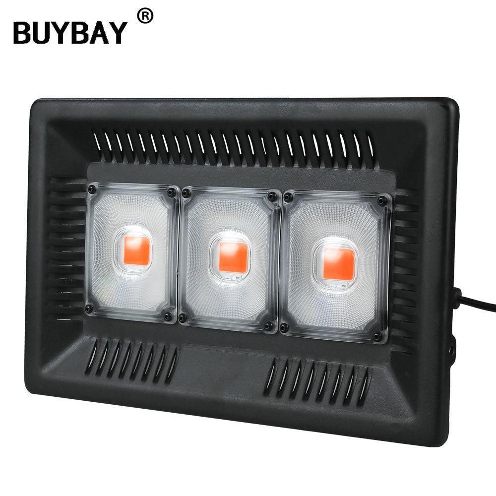 Luz LED de amplio espectro BUYBAY resistente al agua IP67 100W 200W 300W COB, luz de inundación de crecimiento para plantas de interior, invernadero hidropónico Espectro completo 300/600/800/900/1000/1200/1800/2000W LED Luz de cultivo 410-730nm para plantas de interior y tienda de cultivo de flores de invernadero