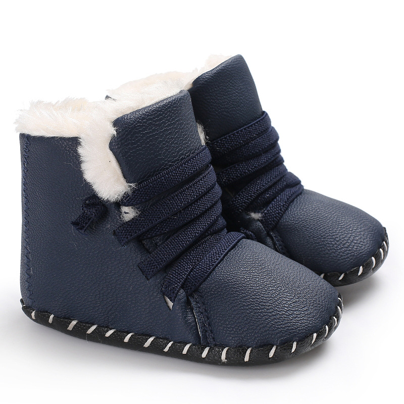 Raise Young PU Leather Winter Plus Velvet Warm Baby Boots Soft Soles Non-slip Newborn Baby Girl Booties Toddler Boy Shoes 0-18M