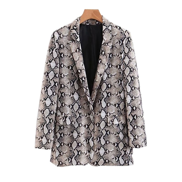Womens Blazers Long Sleeve Snake Skin Print Long Style Hidden Breasted Ladies Blazers Women Streetwear Outwear S M L