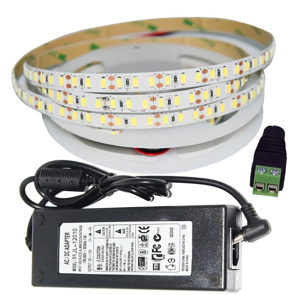 120 LED s/m Super lumineux DC12V SMD 5630 kit de bande LED avec 120 W DC12V adaptateur d'alimentation pour le but de lumen élevé