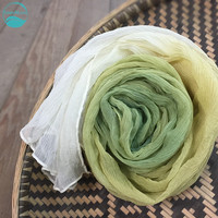 LinenAll Plant dyeing silk yellow&green scarf sunscreen 100% silk amazing shawl