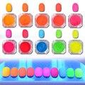 2 g/caja de Neón Polvo de Uñas Nail Art Gradiente de Color Caramelo Fluorescente de Fósforo Pigmento Polvo de Manicura de Uñas Decoración Del Arte