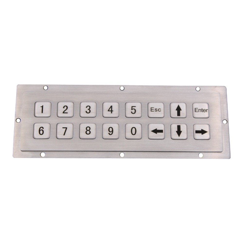Stainless Steel Industrial Keyboard With 16 Keys For Self Service Kiosk 2X8 Matrix Metal Rugged Keypad metal keyboard ylgf ps 2 super mini embedded industrial key waterproof ip65 dust anti violence stainless steel ring