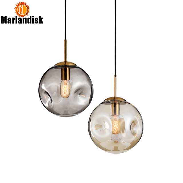 Modern Style Uneven Glass Ball Amber/Grey Graceful Pendant Light E27 Lighting For Dining Room Living Room Showroom Sitting Room