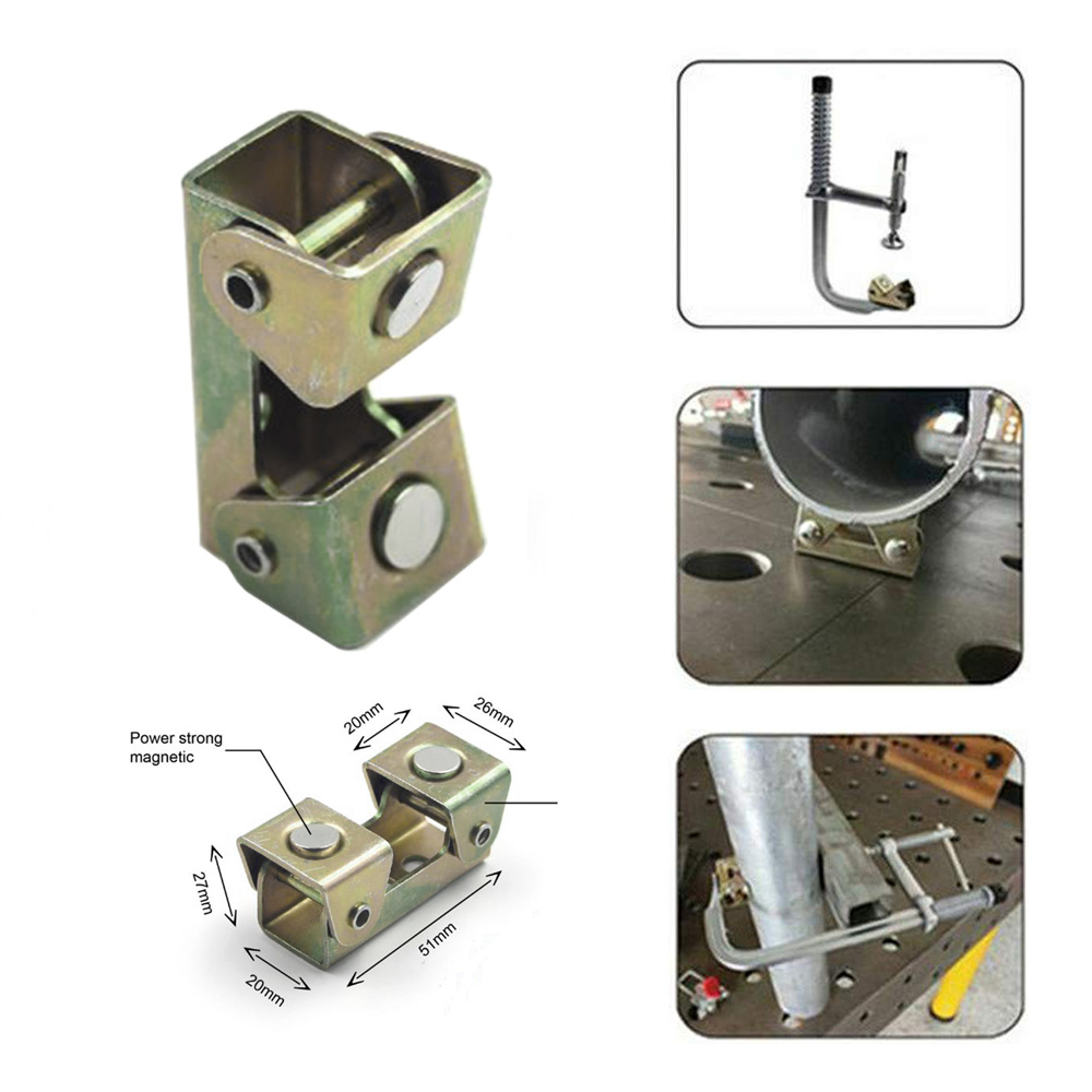 1PC Magnetic V-type Clamps V-shaped Welding Holder Welding Fixture Adjustable Magnet V-Pads Hand Tools Metal Working Tool New B4