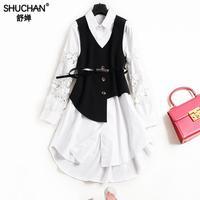 SHUCHAN 2018 Summer Fashion Dress Shirt Cotton Vest Hollow Out Sleeve Falda Muje Irregular Asymmetric Black