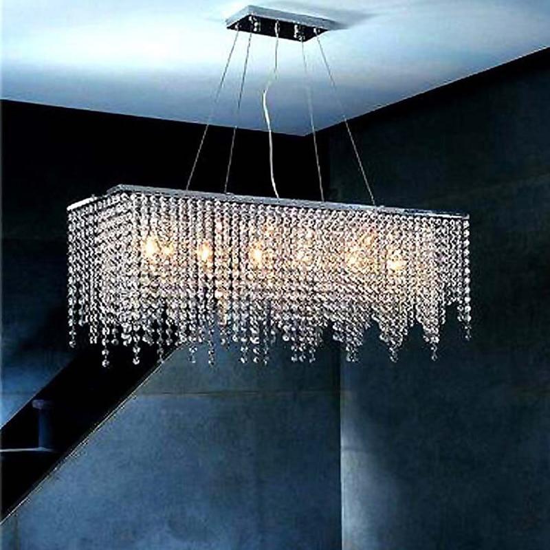 Modern Rectangular Crystal Novelty Pendant Lights LED E14 220V Bright Pendant Lamp For Bedroom Restaurant Hotel Hall Living Room
