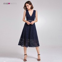 Lace Cocktail Dresses Ever Pretty AS05919 Elegant V Neck High Waist Tea Length Fashionable Affordable Party