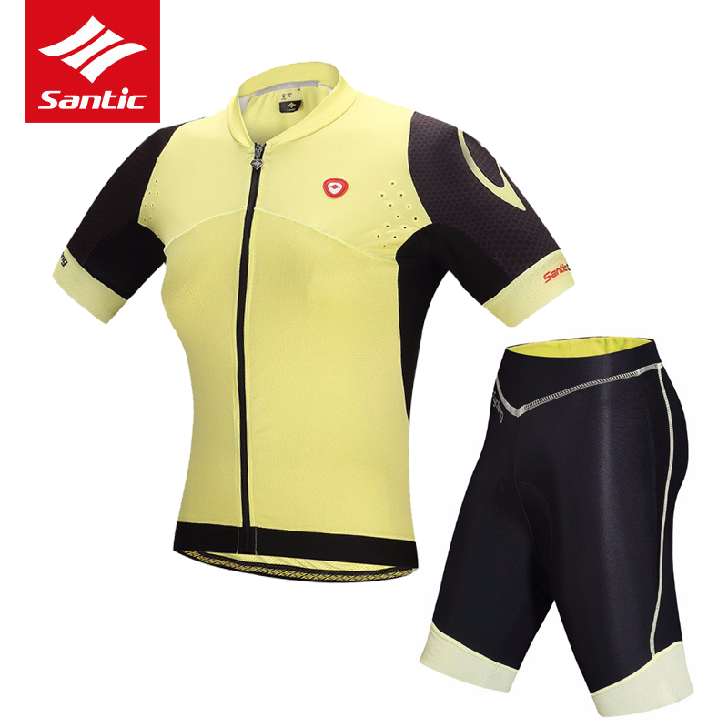 Santic Women Cycling Jersey Set Summer Short Sleeve Pro Team Bicycle Bike Jersey Set Breathable Cycling Clothing Roupa Ciclismo