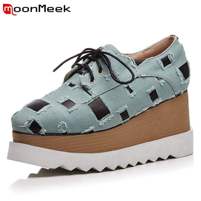 MoonMeek SIZE 33-41 2018 HOT fashion denim+genuine leather pumps women wedges square toe lace up spring autumn shoes ladies shoe 2016 spring autumn women pumps fashion square toe lace up ladies shoes silver platform wedges high heels zapatos mujer 33 40