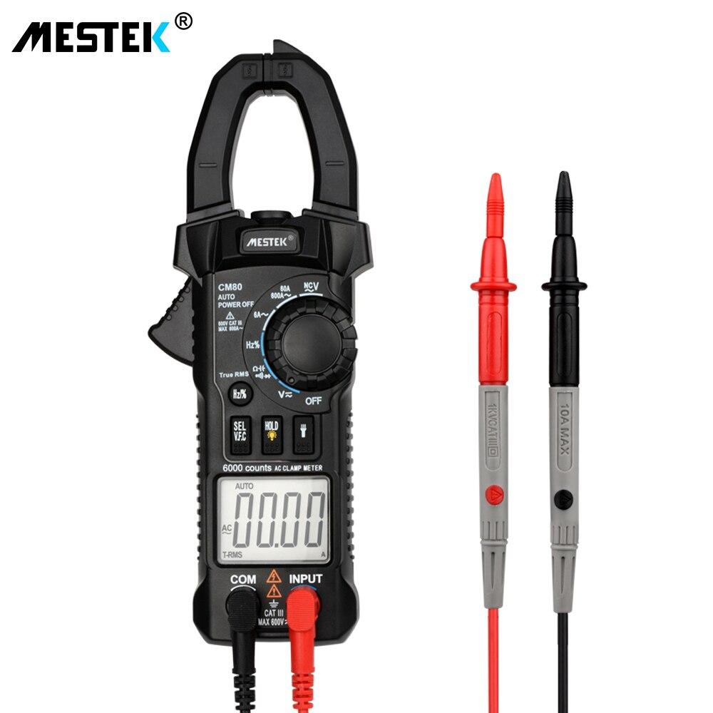 MESTEK Digital Clamp Meter Multimeter AC/DC Spannung Strom Kapazität Frequenz Tester VFC NCV Auto Range Multimeter CM80