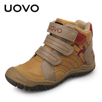 UOVO Mid Cut Velcro Children Boys Sport Shoes Outdoor Shoes Casual Leather Shoes For Boys Size