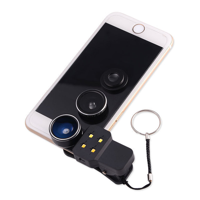 Kit 4en1 LED Luz de Relleno de Flash con Gran Angular Macro Lente de ojo de Pez Móvil lentes de teléfono para iphone 4 4s 5 5s 5c se 6 6 s 7 Plus