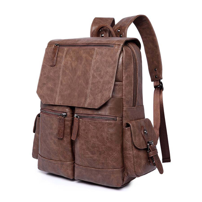 NEW backpack male backpack Pu leather simple Student pack bag high-capacity Travel bags laptop bag men and women student bag pu leather backpack litchi pattern student bag