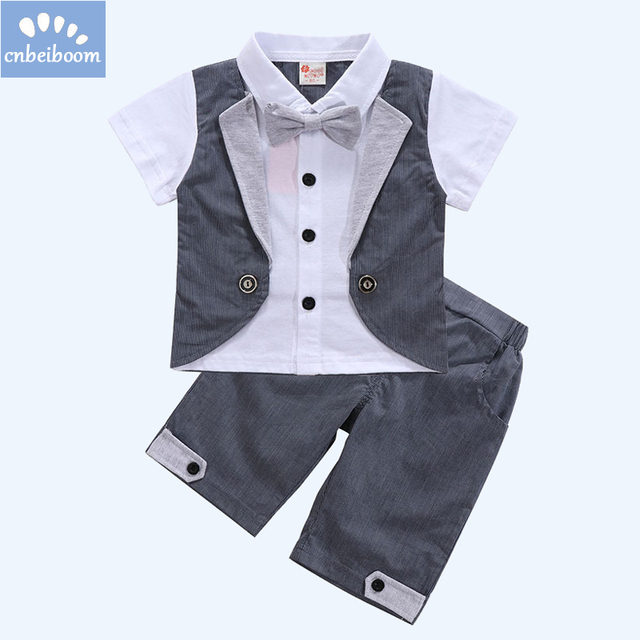1b5c6a017b9e Baby Boys Clothes sets 2018 Summer Short Sleeves Gentleman Formal Grey Suit  2pcs Set Outfit Infant Toddler Wedding Event Costume