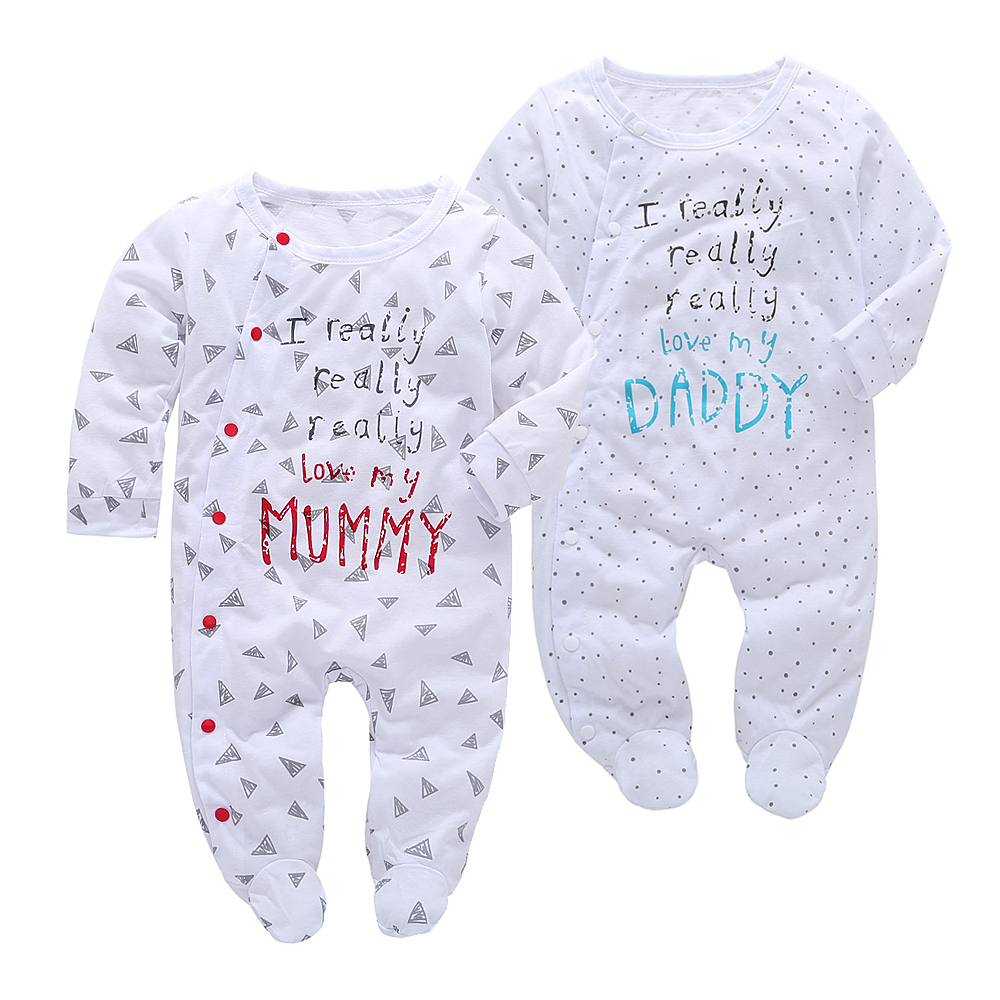 2019 Spring Newborn Baby Girl boy Clothes Set Infant Long sleeve baby   rompers   I love daddy & mummy Jumpsuit Infant clothing