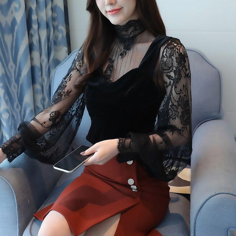 blusas mujer de moda 2018 autumn winter new perspective lace bottom top velvet vest women   blouse     shirt   sexy black top 628J