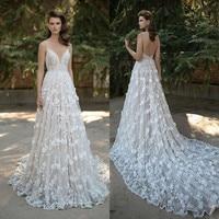 Amazing Lace Wedding Dresses 2019 Backless Spaghetti Straps V Neck Bridal Gowns 3D Appliqued Floral Sweep Train Vestido de Novia