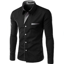 Hot Sale New Fashion Camisa Masculina Long Sleeve Shirt Men Slim fit Design Form