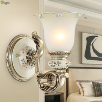 Europe Classic Frosted Glass Led Wall Lamp Carved Resin Bedroom Led Wall Lights Living Room Led Wall Light Fixtures Wall Sconce
