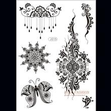 1piece Flower Sun Lace Black Henna Tattoo Sticker Flash Tatoo Gold Silver Buddha Tatts Designs Fake Taty Indian On Hand J015B