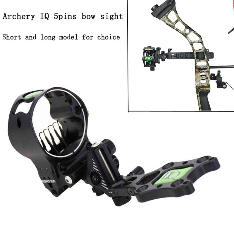 5Pins IQ Compound Bow Sight Laser Illuminated By Optical Fiber Micro Bowsight with Sight Light Hunting