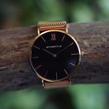 Quartz Luxury Rose Guld Svart Dial Watch Kvinnor Roman Mesh Tunt Rostfritt Stål Magnetband Vattentätt Armbandsur Antibrittle 6mm