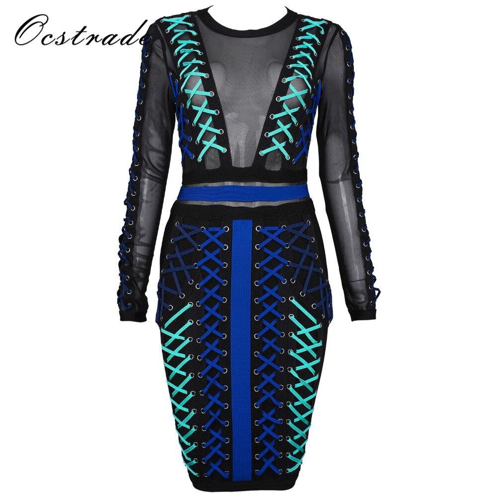 Ocstrade High Quality Women Fashion 2017 Runway New Arrival Blue Women Lace-up Long Sleeve Mesh Bandage Dress