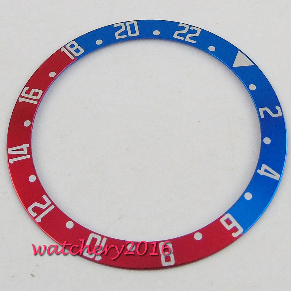39.5mm Red & Blue Titanium Watch Bezel insert Fit for 41mm submariner Automatic men's watch все цены