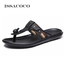 ISSACOCO Genuine Leather Mens Slippers Men Flip Flops High Quality Beach Sandals Non-slip Male Home Pantuflas