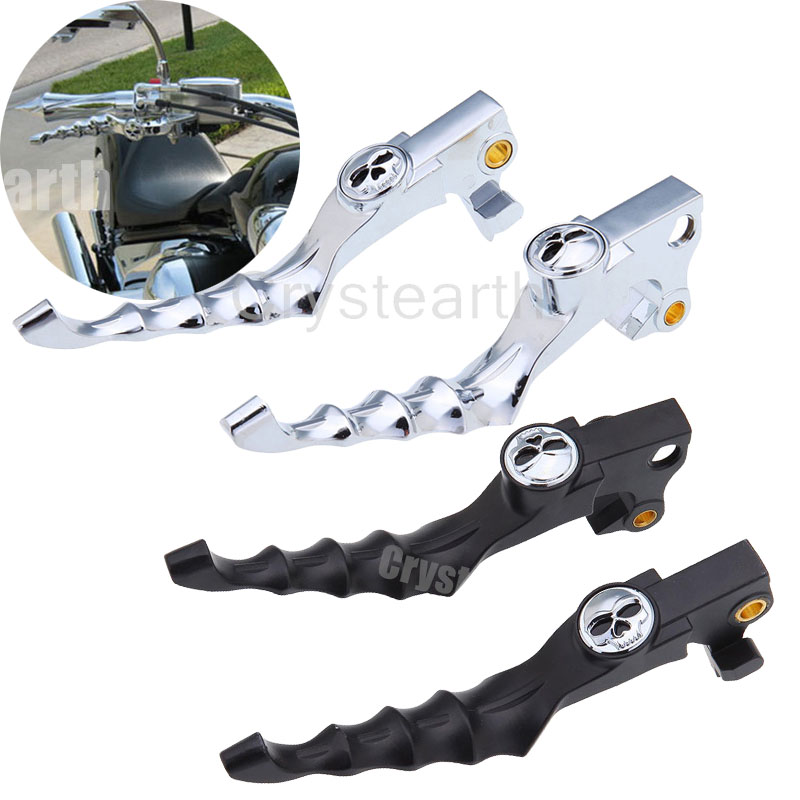 1 Pair Black Chrome Motorcycle Skull Zombie Brake Clutch Levers For Harley Sportster 2004-2013 2005 2006 2007 2008 XL 883 1200 motorcycle cnc skull brake clutch levers fits for harley sportster xr xl 1200 883 fits forty eight 2014 2015 2016 black