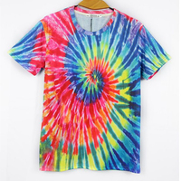 Fashion Men Women Tops Tie Dye T Shirts Masculina Harajuku Spiral Tie Dye TShirts Cotton Men
