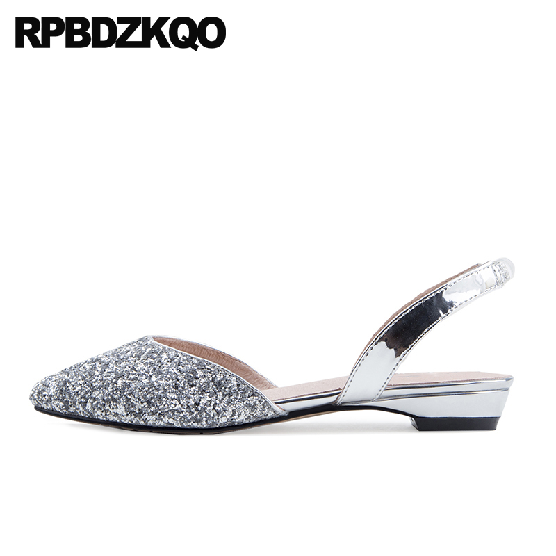 china 11 chinese large size sequin pointed toe wedding glitter women dress  shoes sandals flats silver slingback 12 44 slip on b2fb3690e1e0