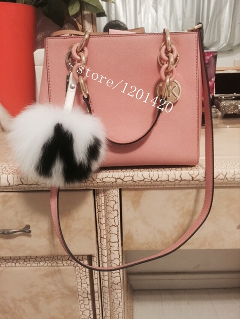 15-16cm custom name Initials personality keychains real fur Pompom English letters fox hair bulb keychain handbag accessories