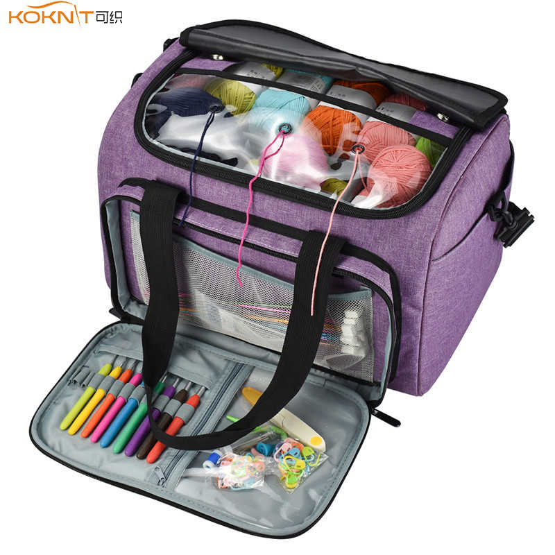 KOOKNIT Knitting Bag Yarn Tote Organizer with Inner Divider for Wool Crochet Hooks Knitting Needles Sewing Set DIY Storage Bag