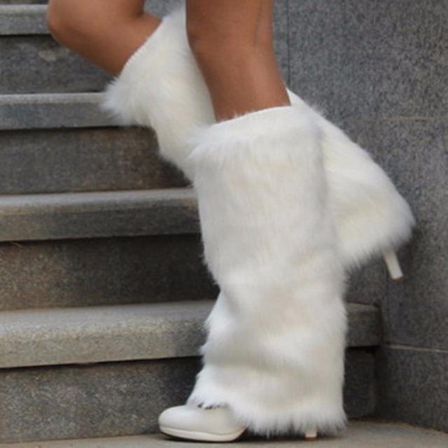 TB2101 Fashion Women Winter Warm Leg White Soft Cute Socks Knitted Crochet Long Socks Christmas Warmmer Leg Socks For Women
