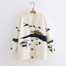 YoYiKamomo весенний женский вязаный свитер японский Mori Girl с v-образным вырезом жаккардовый свитер Кардиган Зимний