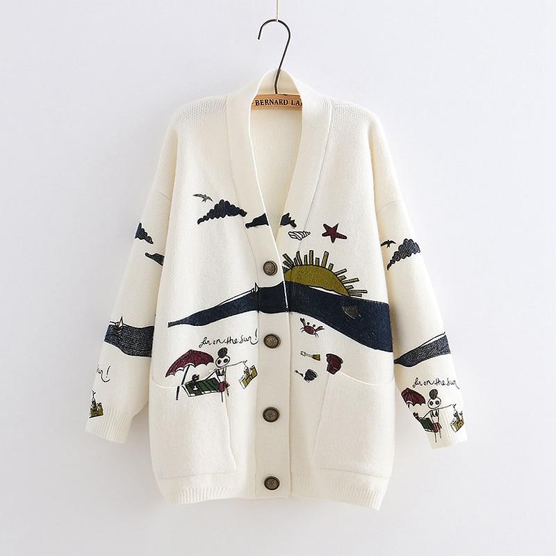 YoYiKamomo весна женский свитер вязание 2019 новый японский Мори девушка v образным вырезом жаккардовый свитер кардиган зима